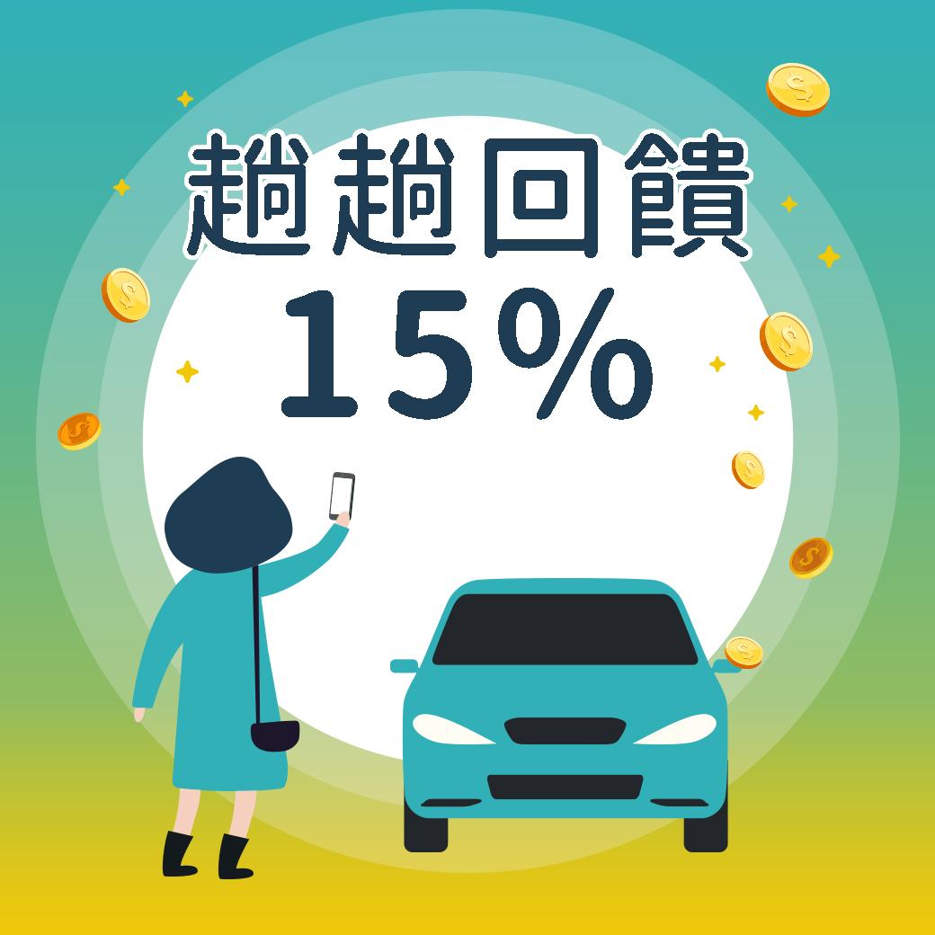 乘客叫車每一趟有15%回饋金