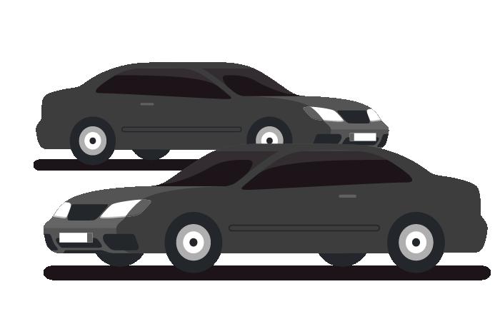 兩台黑色的車代表來回趟